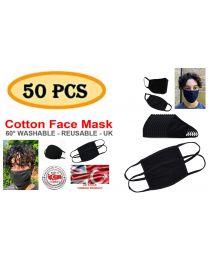 Wholesale Face Masks 100% Cotton Bulk Buy Pack of 50