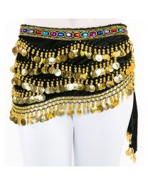Rhinestone Gems Velvet Coin Belly Dance Hip Scarf