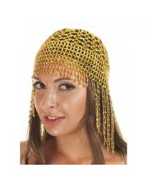 Cleopatra Belly Dance Elastic Beaded Cap Hat Headpiece