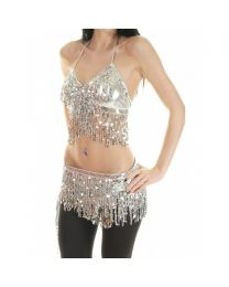 Sequined Belly Dance Outfit with Beaded Fringe