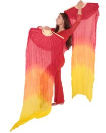 Silk Fan Veils 'Fire' Style - PAIR
