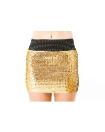 Sparkling Stretch Fit All Over Sequined Disco Party Mini Skirt For Girls