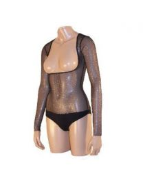 BELLY DANCE BODY STOCKING LEOTARD UNITARD UNDER BUST WITH SLEEVES M-L