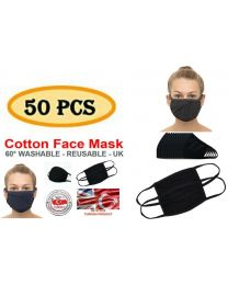 Wholesale Face Masks 100% Cotton Bulk Buy Pack of 50