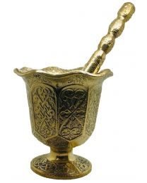 Turkish Pestle and Mortar Set Solid Brass Engraved