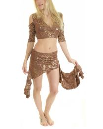 Shiny Metallic Wrap Top Ruffle Belly Dance Skirt 2 Piece Outfit