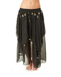 Chiffon Handkerchief Skirt with Attached Hip Coin Belt