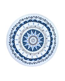 Large Microfiber Printed Round Beach Towel With Tassel Circle Beach Towel - Blue