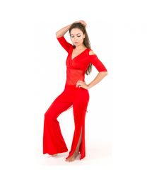 Belly Dance Outfit Women's Training Modal Criss-Cross 2 Pieces Long Sleeve Top Pants
