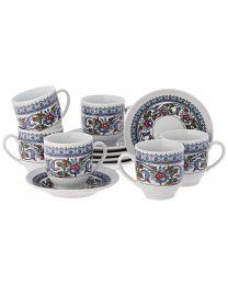 The Turkish Emporium Porcelain Espresso Coffee Cup Saucer Set of 6
